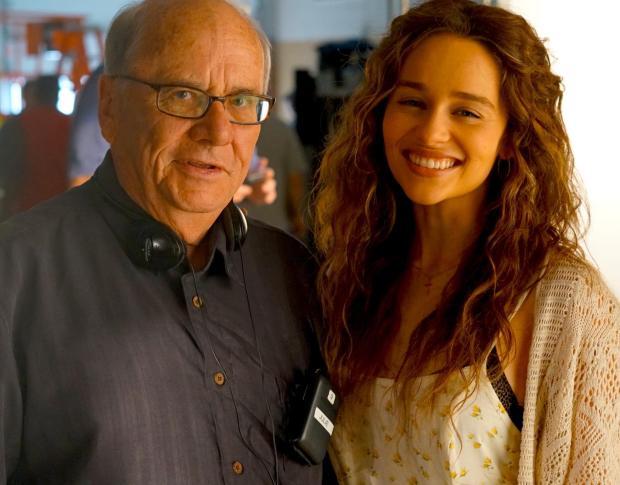 Emilia Clarke and Joe Sharkey on the set, July 2016.  [PHOTO BY DON CAMP]